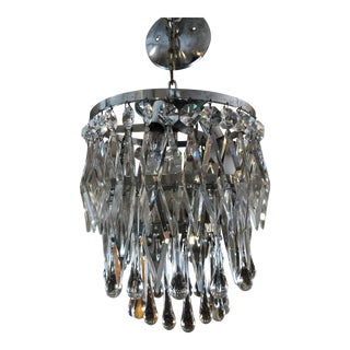 Petit Art Deco French Crystal Tiered Chandelier 1 of 2 For Sale