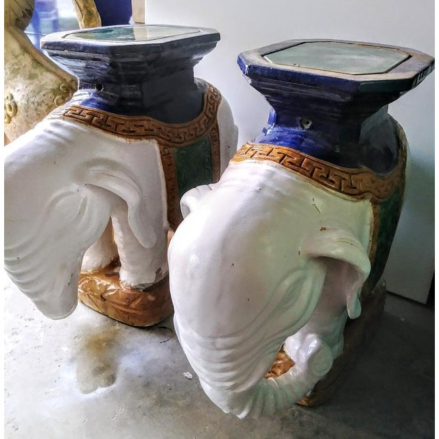 White A Pair Vintage Chinoiserie Palm Beach Regency Colorful Elephant Garden Stools Tables For Sale - Image 8 of 10