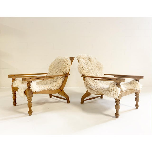 19th Century British Colonial Plantation Chairs With Sheepskins, Pair For Sale - Image 5 of 10