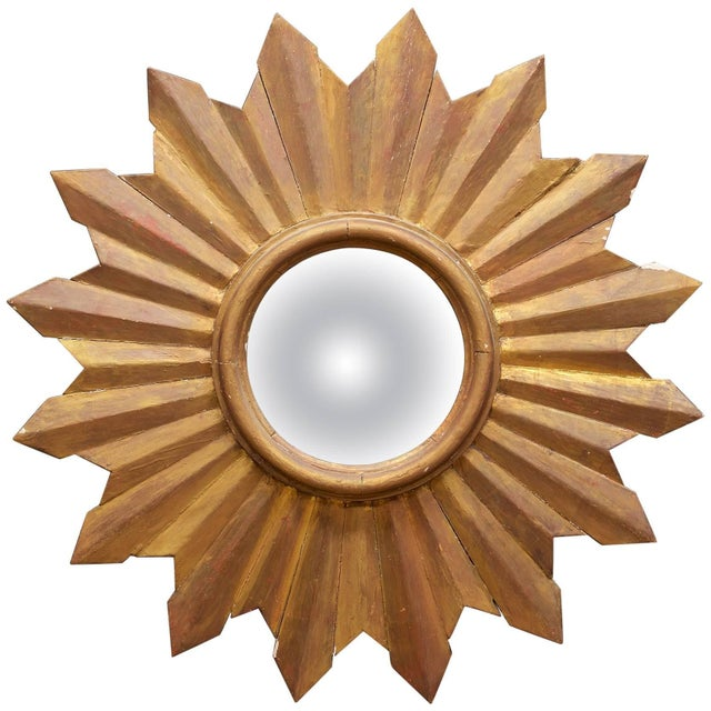 Rustic Wooden Starburst Convex Wall Mirror Patina Hollywood Rococo Mid-Century For Sale In Washington DC - Image 6 of 6