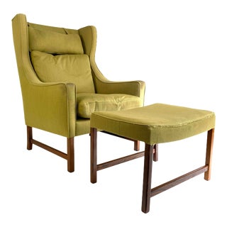 Frederik Kayser Style Lounge Chair and Ottoman For Sale