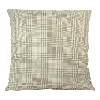 Custom Tan Plaid & Houndstooth Pattern Pillow For Sale