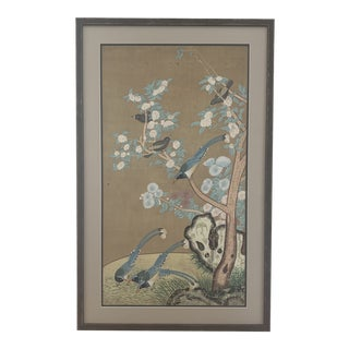 Antique Persian Painting on Silk of Birds and Flowers For Sale