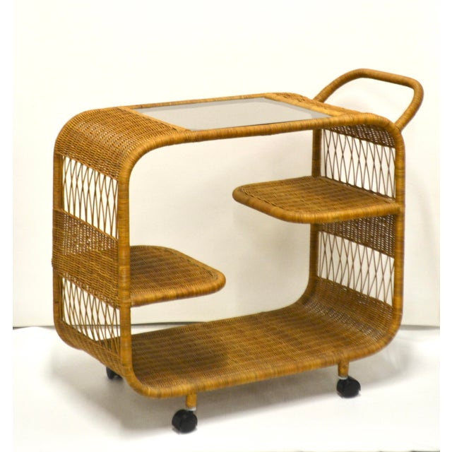 1960s Mid-Century Woven Rattan Bar Cart For Sale - Image 11 of 12