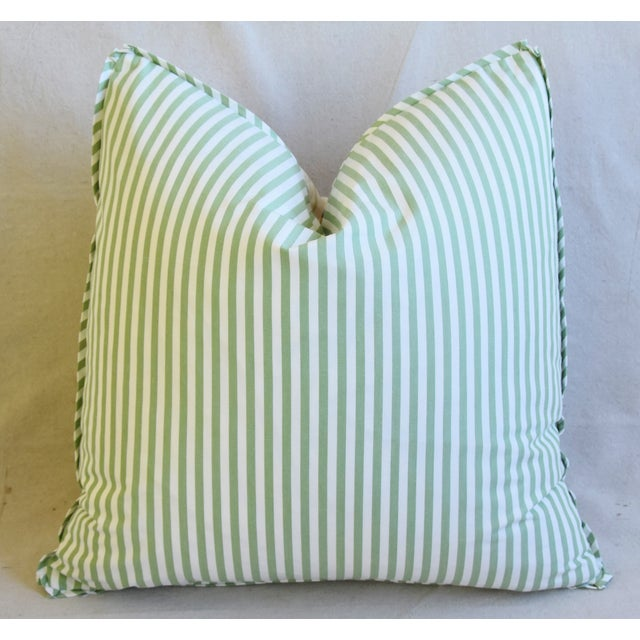 "Clarence House Bamboo Fabric Feather/Down Pillows 21"" Square - Pair For Sale - Image 10 of 13"