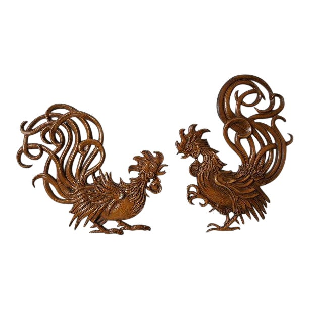 1960s Vintage Fighting Roosters Wall Decor- A Pair For Sale