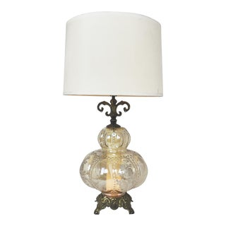 Ornate Brass & Glass Bubble Globe Table Lamp with Floral Motif, 1970s