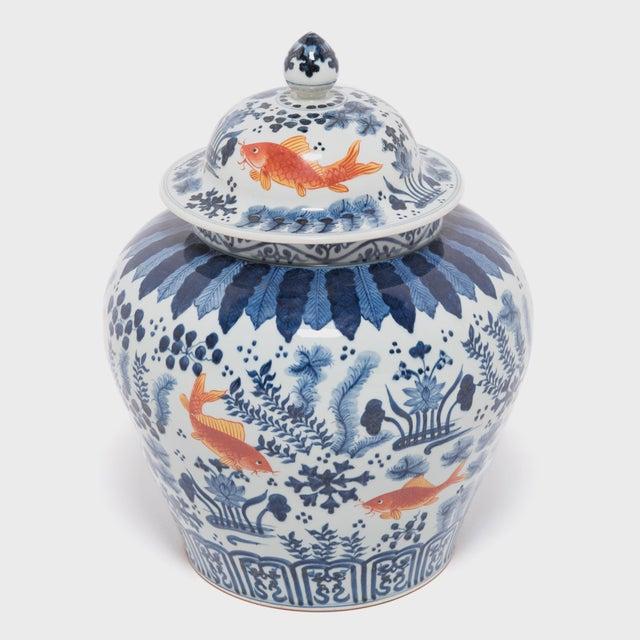 Asian Underglaze Indigo and Copper Fish Jar For Sale - Image 3 of 7