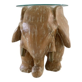 Carved Cerused Oak and Brass Elephant Drinks Table/Sculpture Attrib to Sarreid For Sale