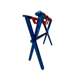Wood and Leather Luggage Rack in Blue and Red Preview