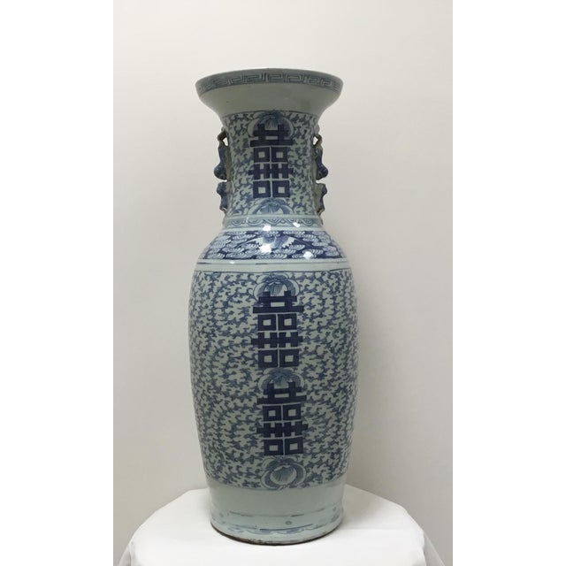 19th Century Chinese Blue & White Large Vase For Sale - Image 9 of 9