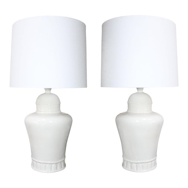 1970's Oversized Hollywood Regency White Ceramic Table Lamps in the Manner of James Mont - a Pair For Sale