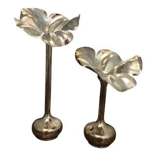 1960s Vintage Marilena Mariotto Silver Plate Flower Shaped Vases - A Pair For Sale