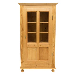 1940s French Country Stripped Pine Glazed Door Display Cabinet For Sale