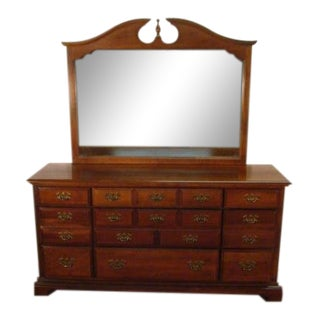 1980s Traditional American Drew Cherry Dresser With Mirror For Sale