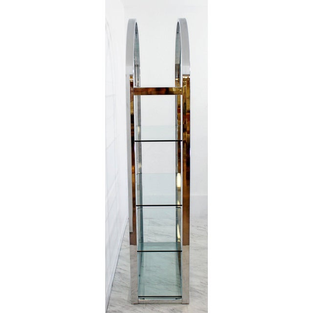 Milo Baughman Mid-Century Modern Tall Curved Chrome and Glass Étagère Shelving Baughman, 1970s For Sale - Image 4 of 7