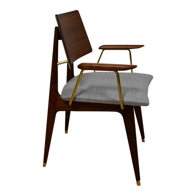 Walnut & Brass Occasional Chair - Image 1 of 11