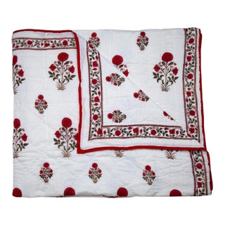 Amaya King Red Reversible Quilt For Sale