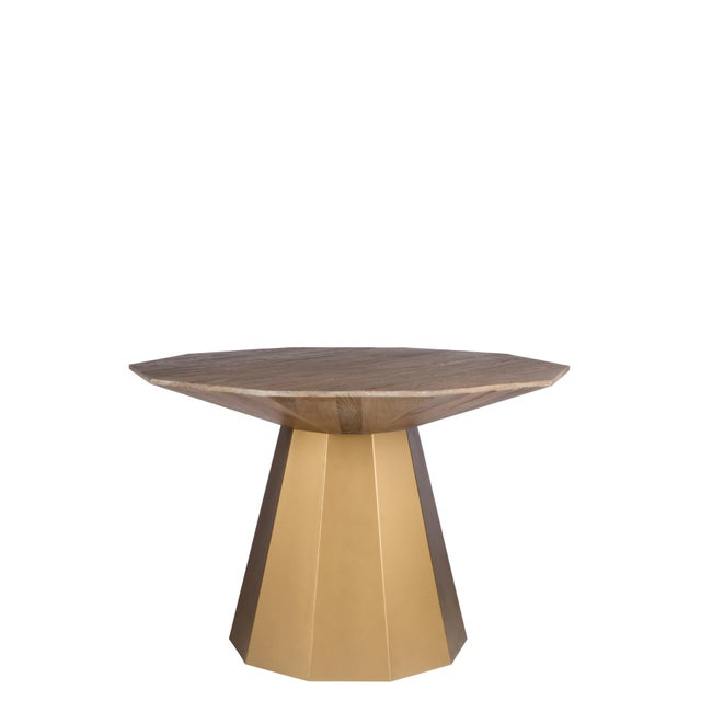 Contemoprary Lucia Gold Elm Wood Dining Table For Sale - Image 4 of 6