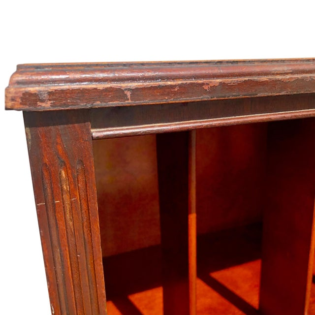 Wood Antique Traditional Mahogany Carved Vinyl Record Cabinet Holder For Sale - Image 7 of 12
