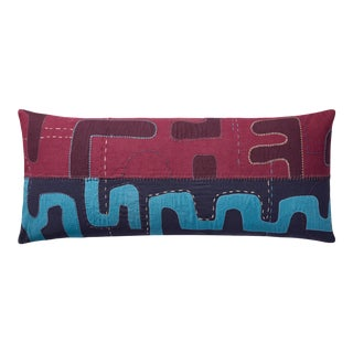 """Justina Blakeney X Loloi Kuba Cloth Pattern Appliqued Pillow with Hand Embroidery, Green / Multi - 13"""" x 35"""" Cover with Down Pillow For Sale"""