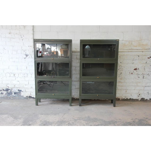 Shaw Walker Antique Metal Barrister Bookcases A Pair