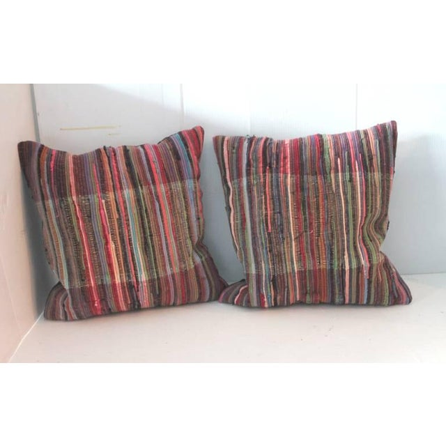 Pair of Multi Colored Rag Rug Pillows - Image 3 of 4