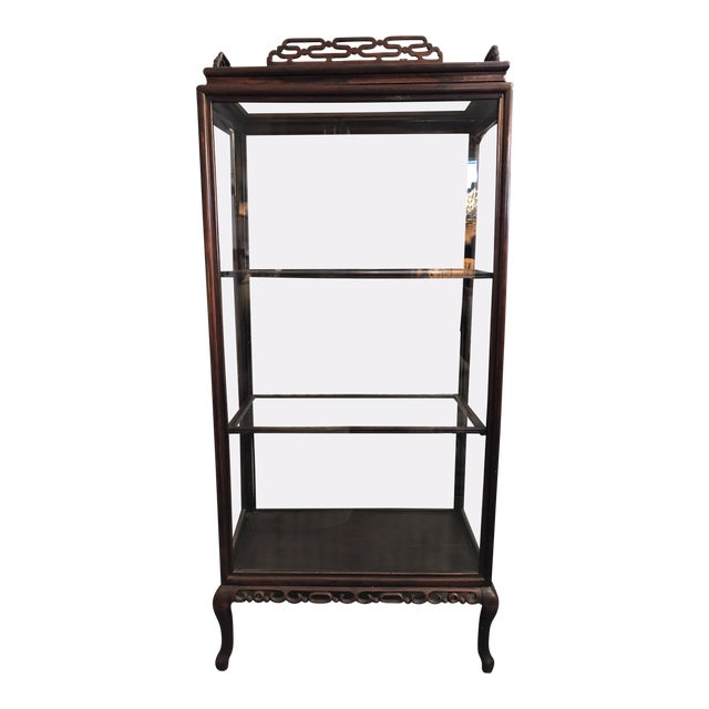 19th Century Chinese Rosewood Hand Carved 3 Shelf Curio Display Cabinet With Two Side Doors For Sale