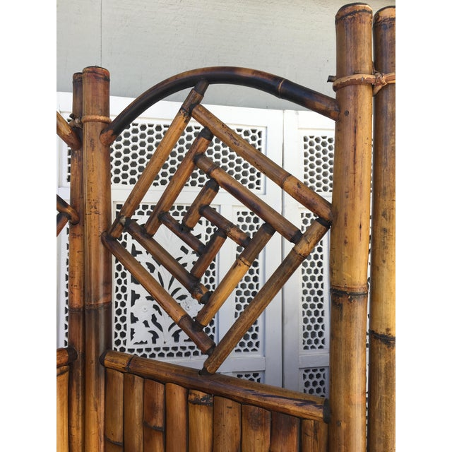Transitional Vintage Late 20th Century Rattan Dressing Screen Room Divider With Fretwork For Sale - Image 3 of 5