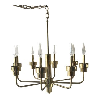 Vintage Brass Eight Arm Chandelier For Sale