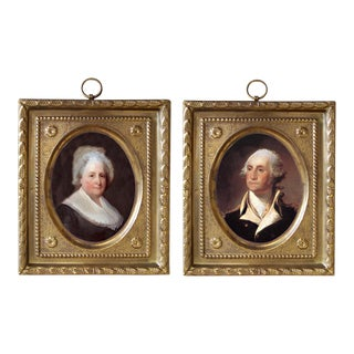 George and Martha Washington Reproduction Prints in Embossed Brass Frames - a Pair For Sale