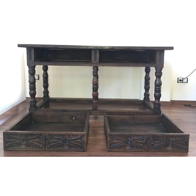 Unique piece 17th Spanish refectory table. Beautiful console. Impressive farm table with two drawers Carved in front and...