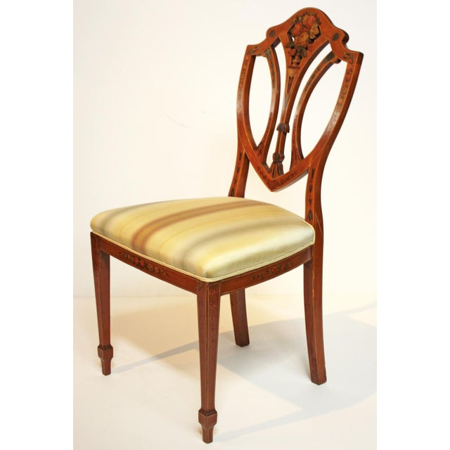Pair of Painted Edwardian Satinwood Shield Back Chairs For Sale - Image 4 of 9