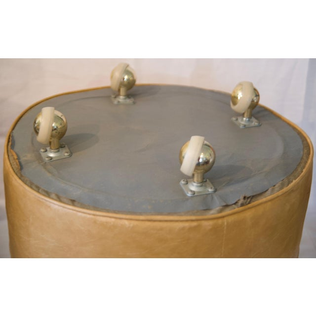 1970s Leather Moroccan-Style Pouf Ottoman For Sale - Image 10 of 13