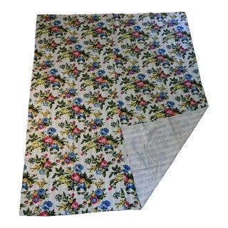 Folk Art Floral Kantha Blanket - 82.5ʺw × 103.5ʺh For Sale