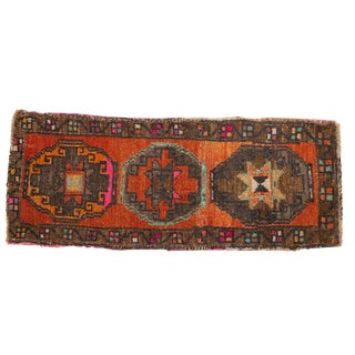 "Vintage Distressed Oushak Rug Mat Runner - 1'8"" X 4'2"" For Sale"