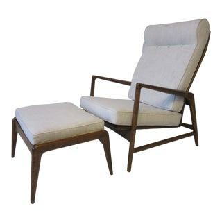 I.B.Kofod Larsen Reclining Lounge Chair W/ Ottoman Denmark For Sale