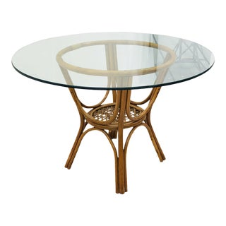 Vintage Rattan & Glass Table