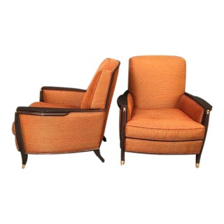 Deco-Style Upholstered Seat and Wood Trim Club Chairs - a Pair