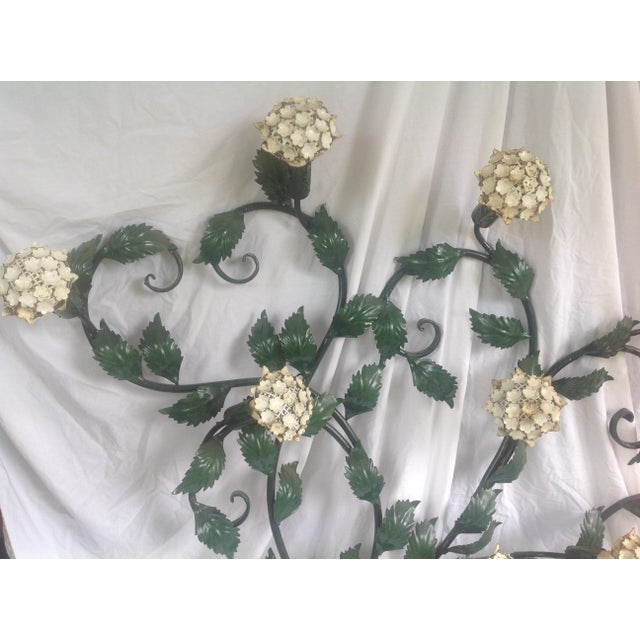 Boho Chic Mid-Century Metal Hydrangea Sconce For Sale - Image 3 of 11