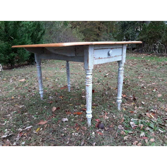 Blue 1800's Antique Pine Wood Drop Leaf Farmhouse Painted Distressed Table With Drawer For Sale - Image 8 of 13