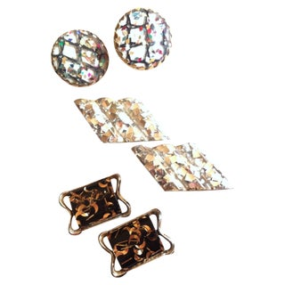 Confetti Glam Mid Century Clip Earrings - Set of 3 For Sale