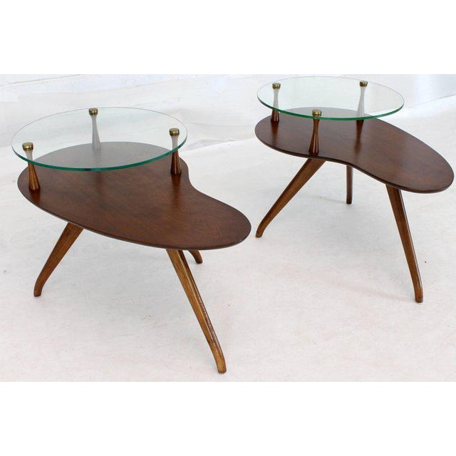 Pair of Kidney Organic Shape Two-Tier Tri-Legged Side Tables For Sale - Image 4 of 10