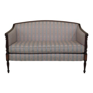 Modern Hickory Chair Co. Style Reupholstered Sheraton Mahogany Loveseat For Sale