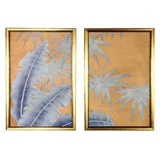 Chinoiserie Blue Palms on Antiqued Rose Gold Silk Diptych Paintings - 2 Pieces For Sale