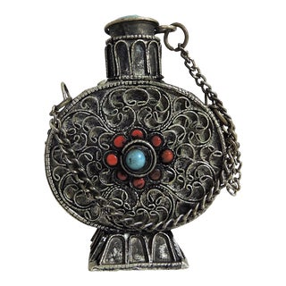 1970s Vintage Tibetan Silver and Turquoise Filigree Scent/Perfume Bottle For Sale