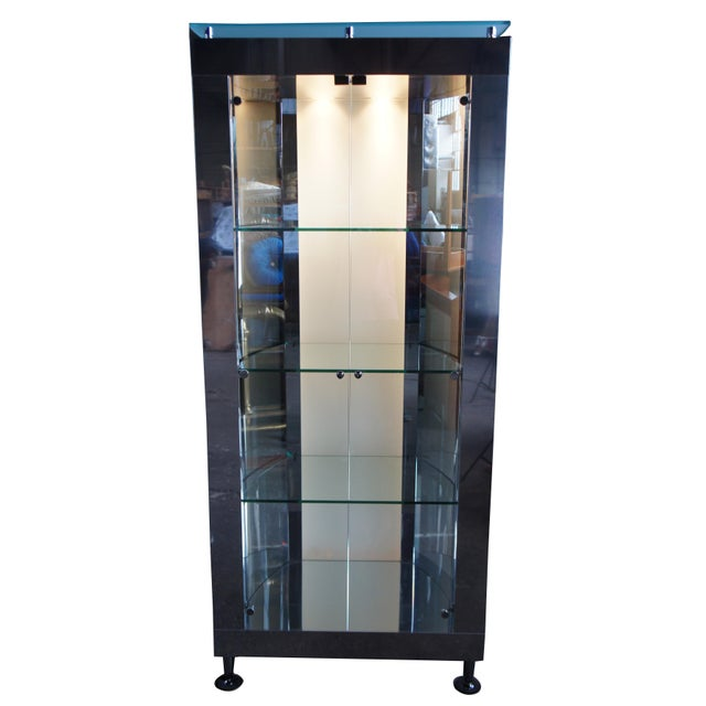 Contemporary 1990s Vintage Chrome Illuminated Modern Display Cabinet For Sale - Image 3 of 13