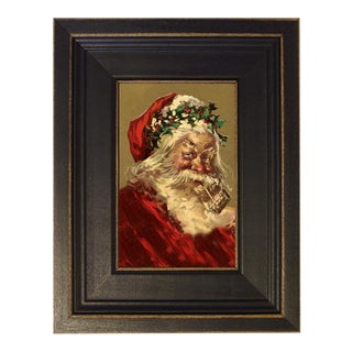 Santa With Corncob Pipe Framed Oil Painting Print on Canvas in Distressed Black Wood Frame For Sale