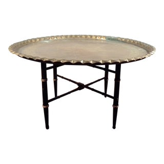 Mid-Century Brass Moroccan Folding Coffee Table