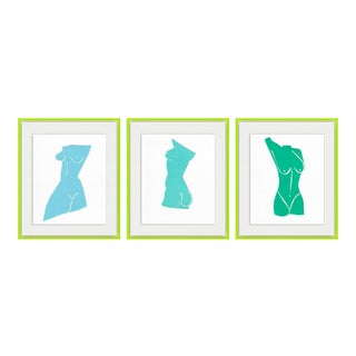 Fair Lady 3pc set by Virginia Chamlee in Neon Green Acrylic Shadowbox, Small Art Print For Sale